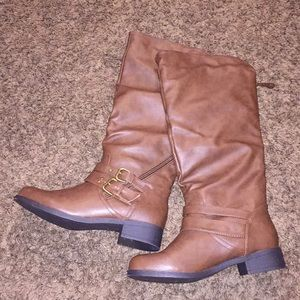 Brown Faux Leather Riding Boots